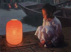 Girl lighted by the glow of a red paper lantern by chinese artist Zhu Yi Yong