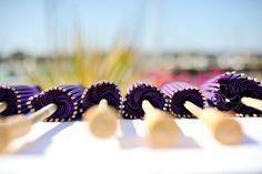 purple paper parasols.