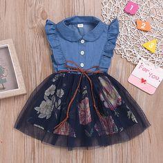 New arrival💙💙Ruffle Side Denim Tulle Dress ------- 🛒Sho Frocks For Girls, Kids Outfits Girls, Little Girl Outfits, Baby Outfits, Little Girl Dresses, Girls Dresses, Toddler Girl Dresses, Clothes For Kids Girls, Blue Dresses