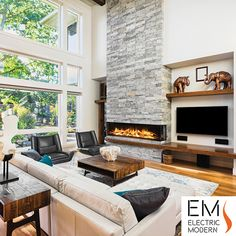 Electric Modern Evonicfires 72 Inch Built-In Electric Fireplace. Evonic Fires inch built-in Electric Fireplace features modern, European design with luxury appeal. Beautiful frameless electric fireplace with realistic flames and logs. Ethanol Fireplace, Fireplace Wall, Fireplace Modern, 3 Sided Fireplace, Living Room Interior, Family Room, Living Spaces, House, Contemporary