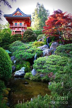 Beautiful combination of reds and greens and gray/blues.  Japanese Garden Pagoda