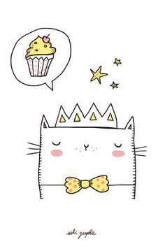 Cards A6 10 x 15 cm Paper: 350 gr choose between the Pineapple Cat, Unicorn and cupcake cat Shipped within 5 days. Any illustration benefits