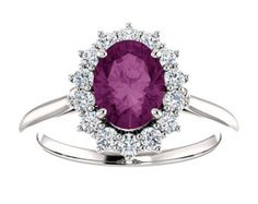 14k 1.6tcw AAA Alexandrite and Diamond Solid Gold Halo Engagement Ring. 14k Yellow, White, Rose Gold. Oval Purple Gemstone. Fine Jewelry.