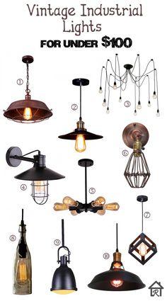 Vintage Industrial Lights for Under $100