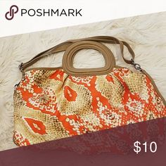 Orange and Tan Print Handbag As pictured. Never used. Bags Satchels