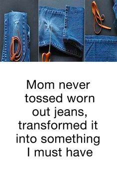 Don't toss out your old worn out jeans - try these beautiful creative crafts and other upcycling ideas as well! diy and crafts upcycle Sewing Crafts, Sewing Projects, Craft Projects, Sewing Ideas, Sewing Diy, Upcycled Crafts, Fabric Crafts, Hand Sewing, Sewing Patterns