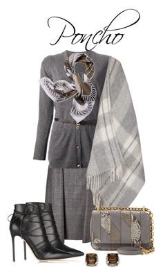 A fashion look from October 2015 featuring long sleeve tops, white ponchos and a-line skirts. Salvatore Ferragamo, Prada, My Design, Tory Burch, Polyvore, Stuff To Buy, Shopping, Collection, Women
