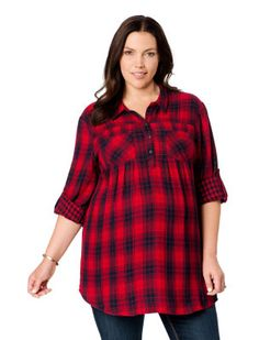 94fbf258d8f0d Motherhood Maternity Plus Size Convertible Sleeve Pleated Maternity Tunic