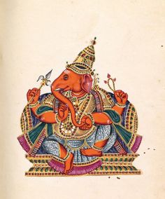 Ganesha illustration no. 97 in Album of Hindu deities 1833–39 Tamil Nadu, India. opaque watercolour on paper