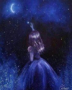 Reach for the Stars, Star Girl in Space, Stars, Galaxy [unframed Original Fine Art Print] - Art Art Anime Fille, Anime Art Girl, Cute Galaxy Wallpaper, Beautiful Dark Art, Star Painting, Scenery Wallpaper, Girl Wallpaper, Star Art, Anime Scenery