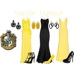 """""""Options For The Yule Ball:Hufflepuff"""" by imperfectionxoxo15 on Polyvore"""