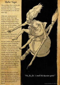 baba yaga, baba jaga, slavic mythology, illustration. check out my facebook (…