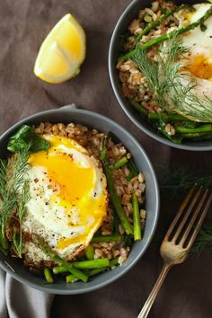 Farro with Crispy Egg, Asparagus, Spinach and Dill - @BorrowedSalt