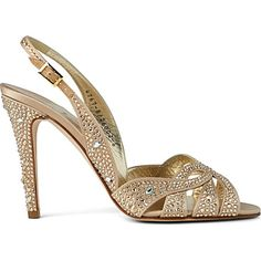 Wedding Shoes - Quincey Swarovski leather sling-back sandals by Ginna