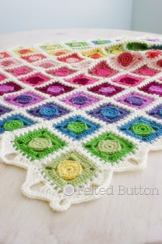 Felted Button - Colorful Crochet Patterns: And the Circle Takes the Square--Crochet Blanket Pattern