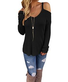 YunJey Womens Cold Open Shoulder Loose Knitted Sweater Top Blouse - http://www.darrenblogs.com/2017/02/yunjey-womens-cold-open-shoulder-loose-knitted-sweater-top-blouse/