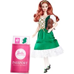 Complimenting her flowing red hair, Ireland #Barbie doll wears a precious green Irish dancer-inspired ensemble with a laced bodice and golden trimmed dress. #DollsOfTheWorld