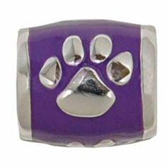"Teagan Collegiate Collection Bead: Louisiana State Paw on Purple Bead RL-B19X5.  925 Silver & Enamel.  This is a ""Teagan"" bead and it is compatible with Pandora, Biagi, Zable, Brighton, Troll and many other European style bracelets"