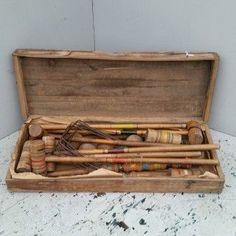Vintage Croquet Set w/ Orignal wooden box | Ohmega Salvage