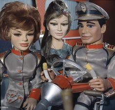 circa 1965 The stars of the puppet television show 'Stingray' show 'Captain Troy Tempest right at the controls of the WASP submarine with 'Marina' centre Timeless Series, Thunderbirds Are Go, Teen Tv, Music Tv, 60s Music, Star Wars, Cartoon Tv, Sci Fi Movies, My Childhood Memories