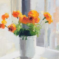 Lisa Breslow, Orange Flowers 2013, Oil and pencil on panel