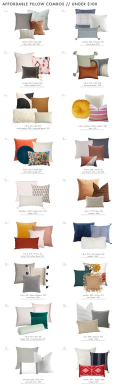 Throw Pillow combination ideas! There are some good ideas here for our living room and master bed!