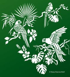 The Tropical Bird Parrot Theme Pack Stencil with tropical and exotic hibiscus and foliage, great for decorative stencil style for walls, furniture, fabrics. Bird Stencil, Stencil Painting, Fabric Painting, Damask Stencil, Faux Painting, Patterned Furniture, Funky Furniture, Furniture Design, Black Fabric Paint