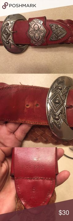 Western Leather Belt Silver S Gently used leather belt. Made in Mexico. Size: small. Silver hardware is in pretty good condition. Not all scratched up! The only imperfection is pictured. Shortest hole: 26 1/2. Longest: 28 1/2. Accessories Belts