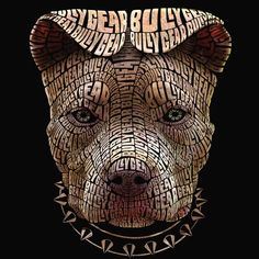 Portrait of a Pit bull made of words.