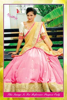 Pink & Pale Yellow Designer Lehenga Replica
