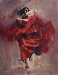 FLAMENCO.....PAINTING.....BY RENATY BRZOZOWSKIEJ....PARTAGE OF PAINTINGS.....ON FACEBOOK......