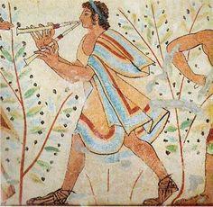 """Фрески этрусских гробниц. Музыкант, играющий на двойной флейте. """"Гробница Леопардов"""", Тарквинии , ок. 480 г. до н.э."""