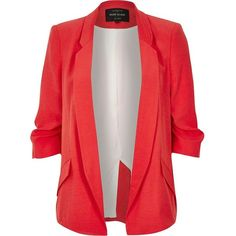 River Island Red ruched sleeve blazer ($78) ❤ liked on Polyvore featuring outerwear, jackets, blazers, red, woven jacket, ruched sleeve blazer, red blazer, red blazer jacket and blazer jacket