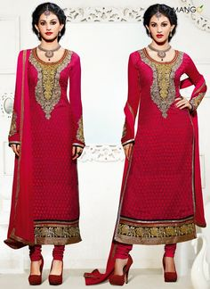 FAB RED BRASSO GEORGETTE CHURIDAR SUIT  CODE:-7830 PRICE:-2935/-