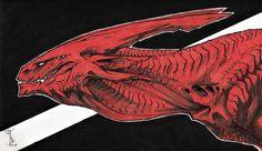 Crowned Alien Dragon by kelpie-monster on DeviantArt Fantasy Life, Dark Fantasy, Fantasy Art, Alien Concept Art, Creature Concept Art, Creature Feature, Creature Design, Fantasy Creatures, Mythical Creatures