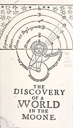 John Wilkins ~ The Discovery of a World in the Moone. Or, A Discovrse Tending To Prove That 'Tis Probable There May Be Another Habitable World In That Planet (1638).