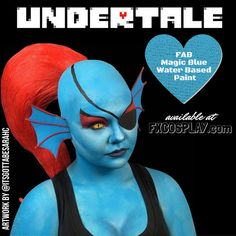 Undyne from Undertale blue body paint