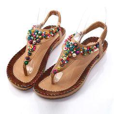 Comprar Women's Fashion Sandals Summer Women Sandal Bohemia National Flavor Shoes Woman Wear-resisting Women Shoes em Wish - Comprar ficou mais divertido Gladiator Sandals, Women's Shoes Sandals, Strap Sandals, Flat Sandals, Women Sandals, Dress Sandals, Beaded Sandals, Cute Flats, Casual Heels