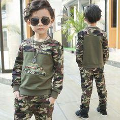 32ef17aaff26c 2017 Spring and Autumn kid boy long sleeve tank camouflage two piece set children  fashion and handsome clothing suit-in Clothing Sets from Mother & Kids on  ...
