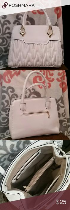 Super cute white purse White purse with gold accents. Comes with a crossbody strap (never used). Purchased at a boutique about 3 months ago. Love the purse just too small for me! Measurements are 10in tall x 11in wide x 6in depth. All zippers work. No stains/rips. Bags Totes