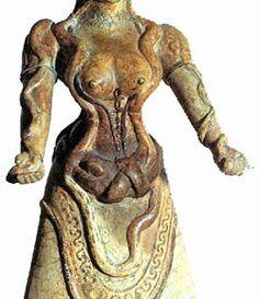 """Evans's """"Snake Goddess"""" from Knossos, Crete c. 1600 BCE (Archeological Museum, Herakleion)"""