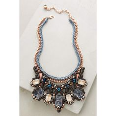 Nocturne Inove Bib Necklace ($238) ❤ liked on Polyvore featuring jewelry, necklaces, blue motif, 18 karat gold necklace, genuine leather necklace, 18k jewelry, leather necklace and blue jewelry