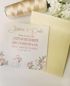 Convite de Casamento ecológico em papel semente. Floral, romântico.
