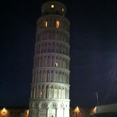 The Leaning Tower of Pisa by night