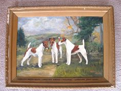 Landscove Smooth Fox Terriers painting seen on eBay. Their names are printed on the frame.