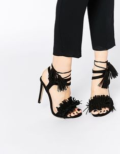 Ruffle Fringe Lace Up High Heeled Sandals Korkokengät b20fd09fe9