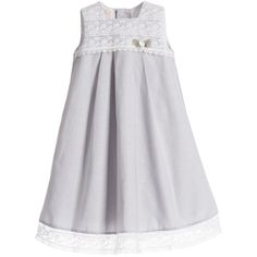 Paz Rodriguez Baby Girls Grey Cotton Gown & Bonnet 2 Piece Set at Childrensalon.com