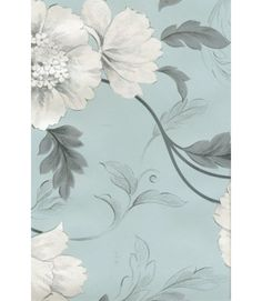 Rasch 226102 Duckegg            Designer Wallpaper Grey Blue And Charcoal Black Leaf Trail With Metallic Sketched Flower