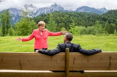Angela Merkel, the German chancellor, with Barack Obama yesterday at the G7 summit in Bavaria
