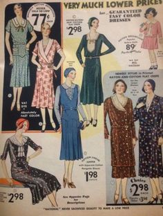 1930s Day Dresses- 1930 Day dresses with drop waist and a boxy fit